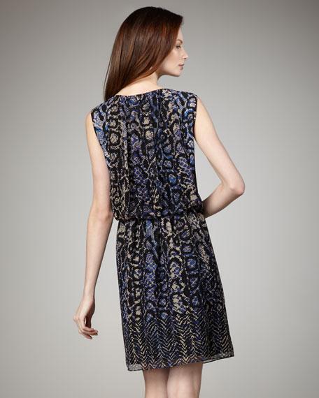 Blouson Snake-Print Dress