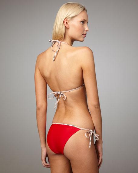 Check-Trim Bikini, Military Red