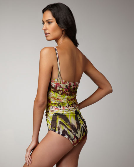 Printed Ruched One-Piece