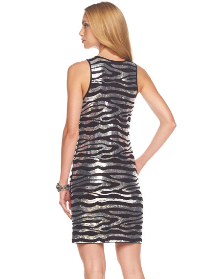 Zebra-Sequin Tank Dress