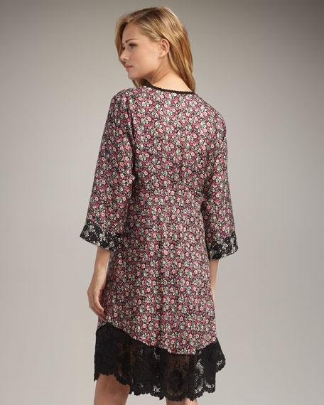 Lace-Hem Printed Dress, Women's