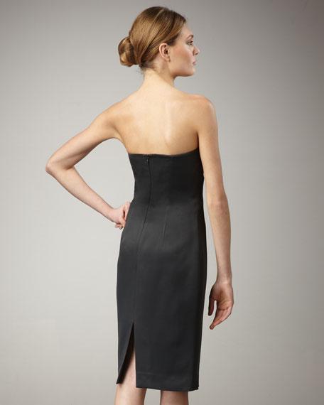 Satin Strapless Dress, Graphite