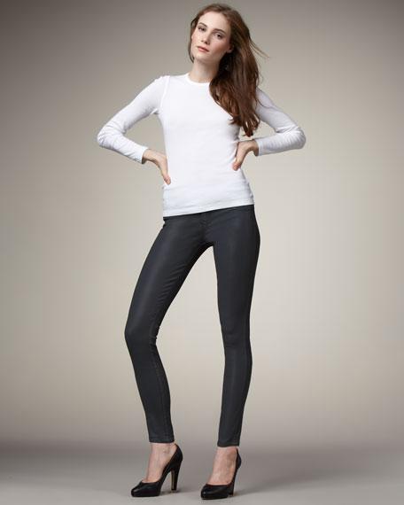 Reversible Denim Leggings, Gold/Gray