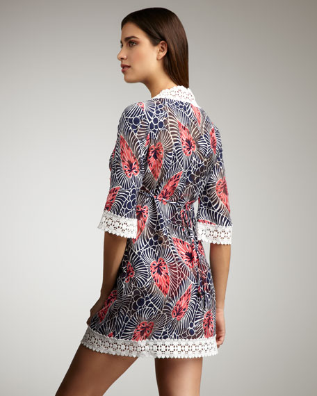 Amazon Leaf-Print Coverup Dress