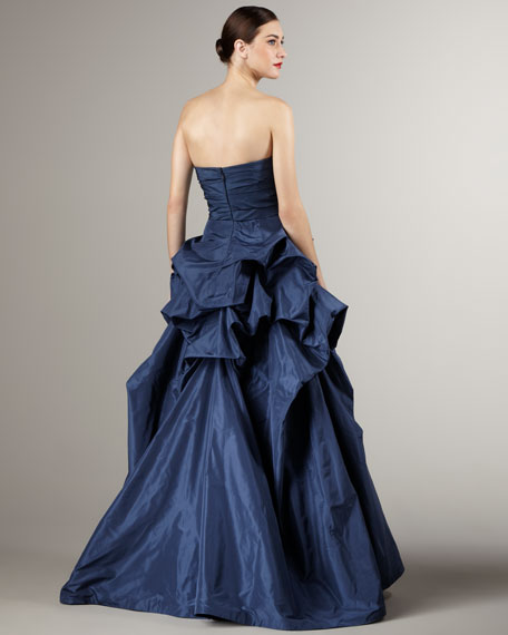 Gathered-Taffeta Strapless Ball Gown