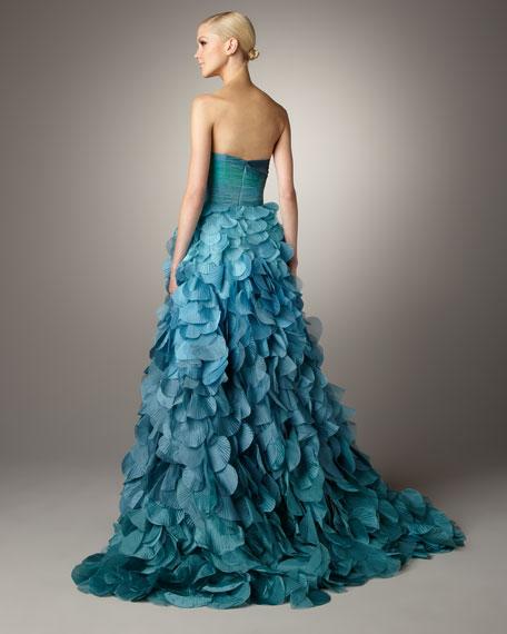 Strapless Petal-Skirt Gown