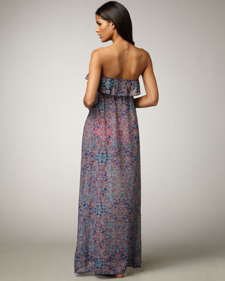 Jewel-Box Paisley-Print Dress
