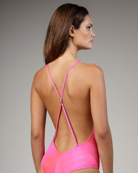 Snake-Print Ombre One-Piece