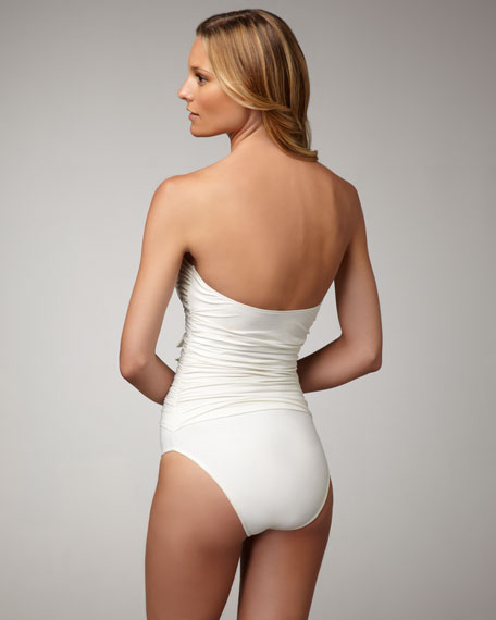 Ruched Tie-Front One-Piece Swimsuit