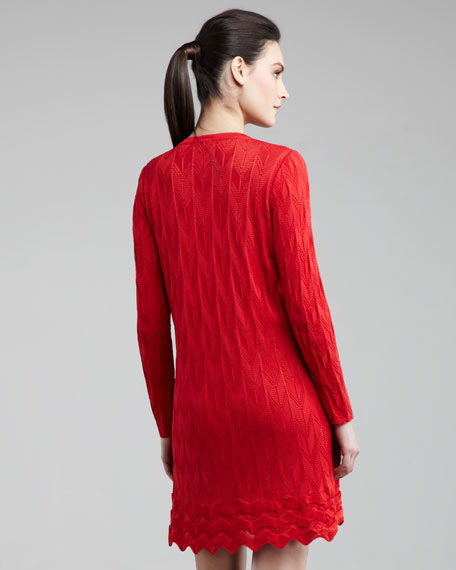 Knit Lace-Up Dress, Red