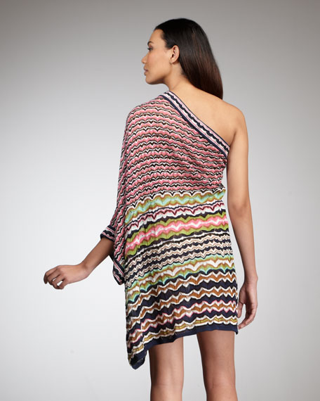One-Shoulder Zigzag Dress