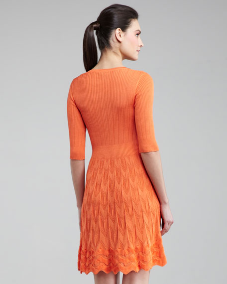 Ribbed-Top Knit Dress, Tangerine