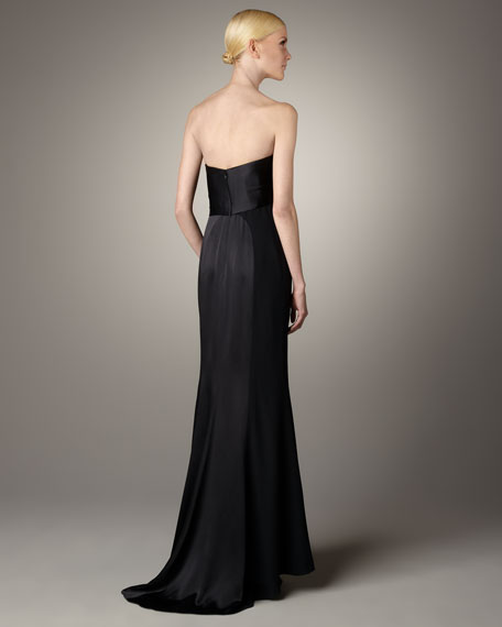 Knot-Front Satin Gown