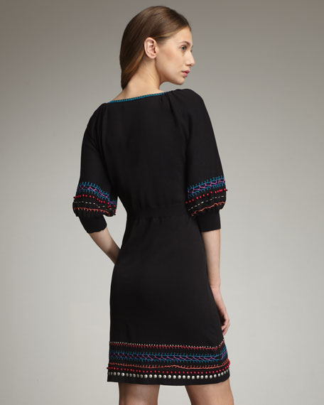 Embroidered Sweaterdress