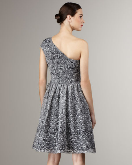 Full-Skirt Printed Cocktail Dress