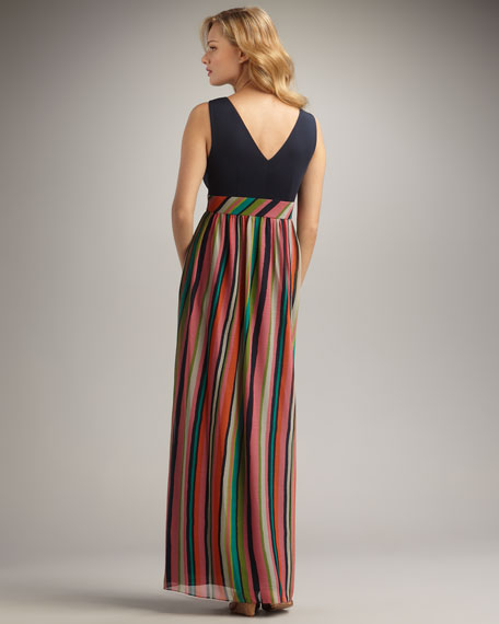 Striped-Skirt Maxi Dress