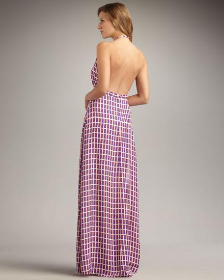 Windowpane-Print Silk Halter Dress