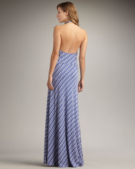 Printed Silk Maxi Halter Dress