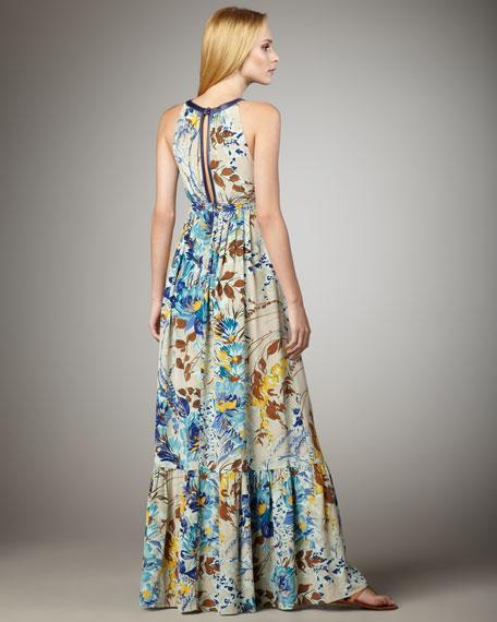 Floral-Print Halter Maxi Dress