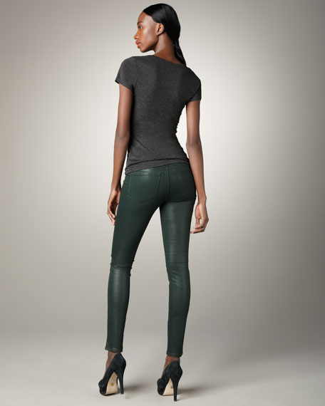 Super Skinny Forest Coated Jeans