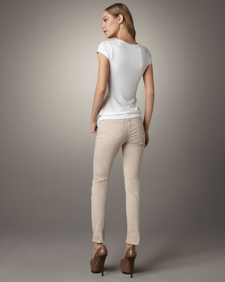 811 Mid-Rise Skinny Twill Jeans, Nude