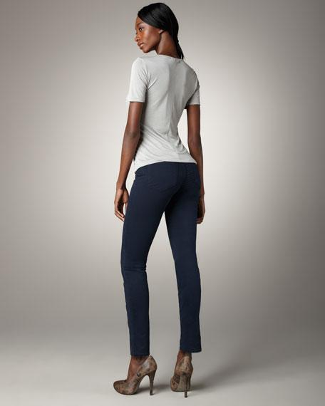 811 Mid-Rise Skinny Twill Jeans, Marine
