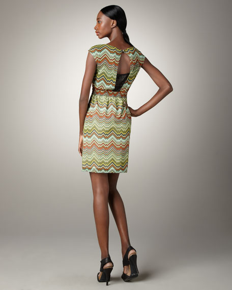 Chevron-Print Open-Back Dress