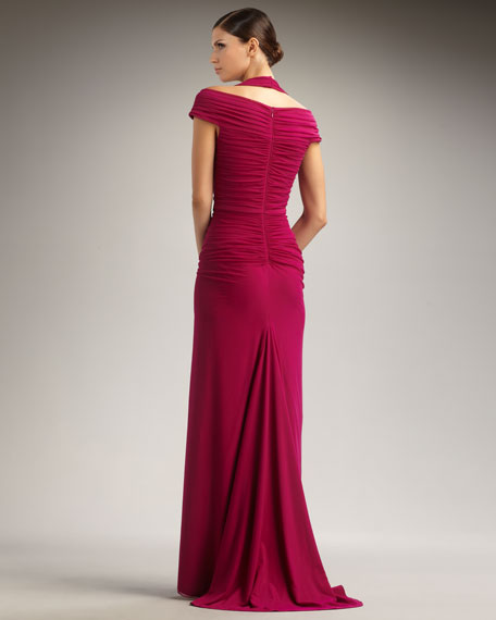 Cold-Shoulder Ruched Bodice Gown