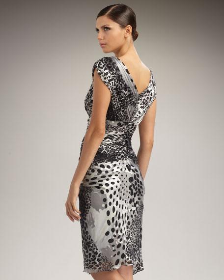 Cap-Sleeve Animal-Print Dress
