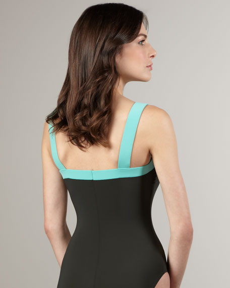 Buckle-Strap Colorblock One-Piece Swimsuit