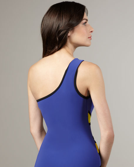 Colorblock One-Shoulder Swimsuit