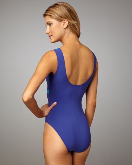 Ruched-Trim One-Piece Swimsuit
