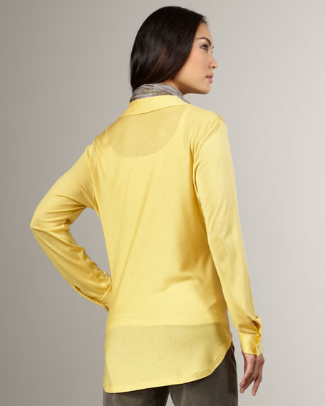 Jersey Button-Down Shirt, Petite