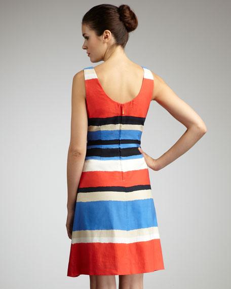 jillian striped bow-waist dress