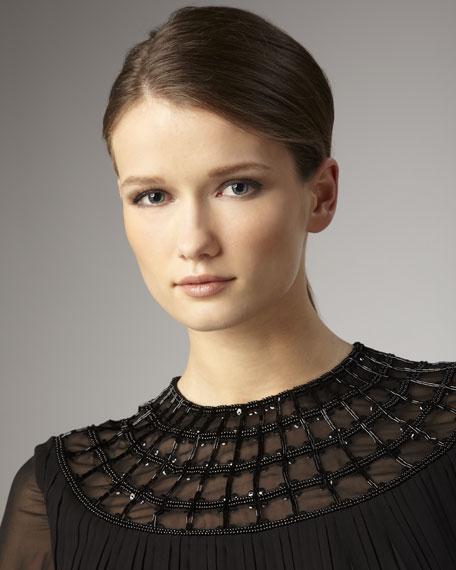Bead-Neck Long-Sleeve Chiffon Dress