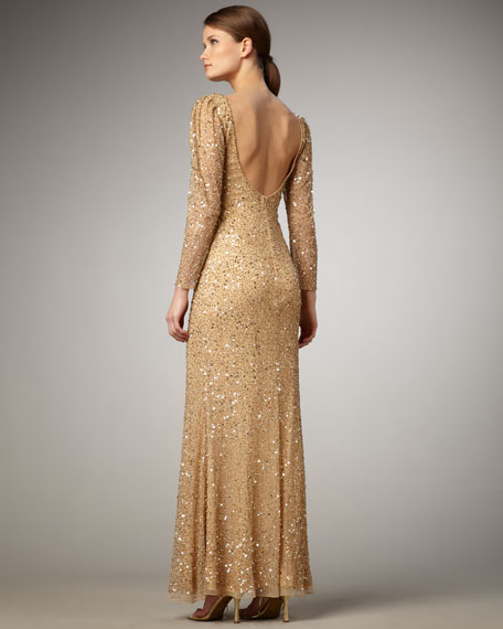 Beaded Long-Sleeve Low-Back Gown