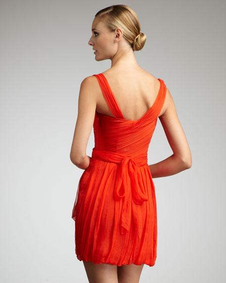 Asymmetric-Neck Chiffon Dress