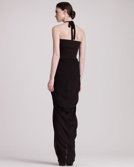 Gathered-Skirt Gown