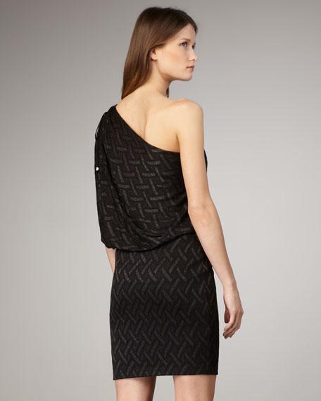 Basket-Pattern One-Shoulder Dress