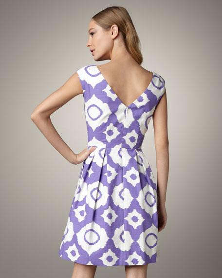 Alyce Cap-Sleeve Ikat Dress
