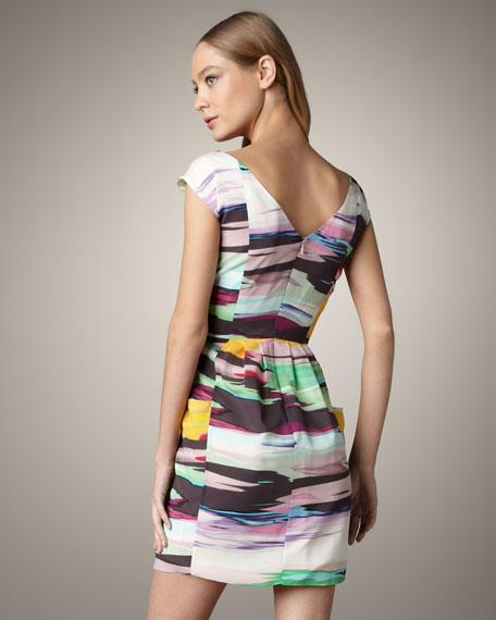 Virginia Striped Cap-Sleeve Dress