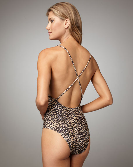 Cheetah-Print Twist Maillot