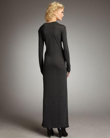 Long-Sleeve Maxi Dress, Charcoal