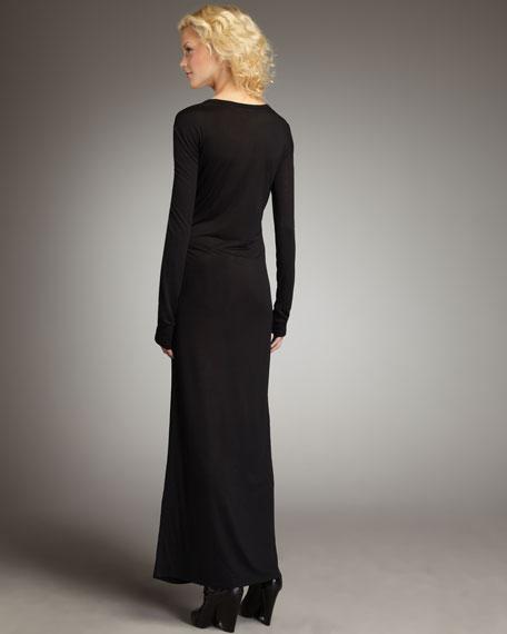 Long-Sleeve Maxi Dress, Black
