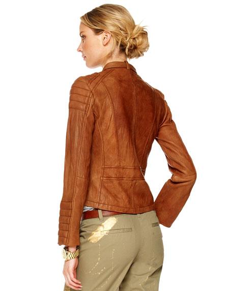 Quilted-Shoulder Leather Jacket