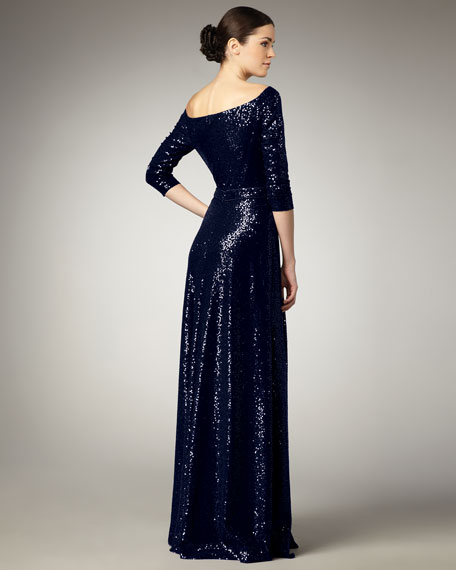 Sequined Bateau-Neck Gown