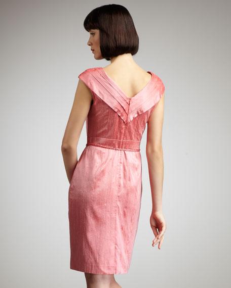 Pleat-Neck Belted Dress