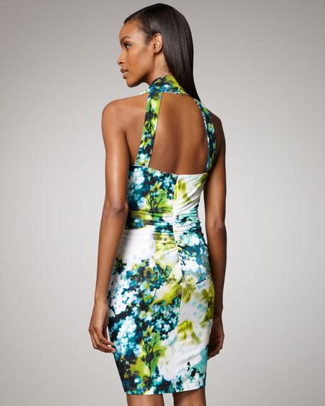Floral-Print Draped Dress