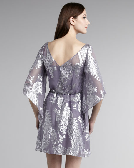 Paisley Foil Shift Dress