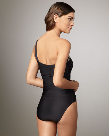 Beaded One-Shoulder Swimsuit